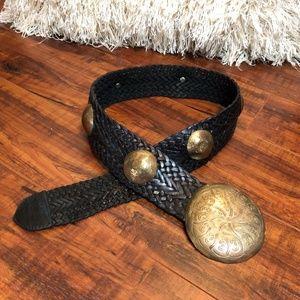 Vintage Leather BoHo Hammered Disc Belt